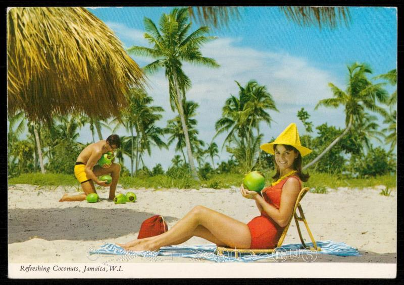 Refreshing Coconuts, Jamaica, W. I.