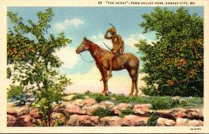 Missouri Kansas City Penn Valley Park The Scout Statue Curteich