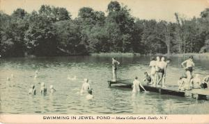 Danby New York Ithaca College Camp Swimming in Jewel Pond Antique PC (J19405)