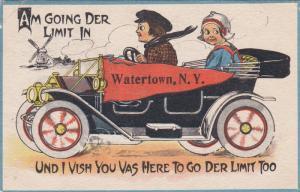 WATERTOWN, New York; Dutch children in convertable automobile, Windmill, PU-1913