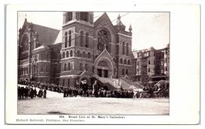 Bread Line at St. Mary's Cathedral, San Francisco, CA Postcard