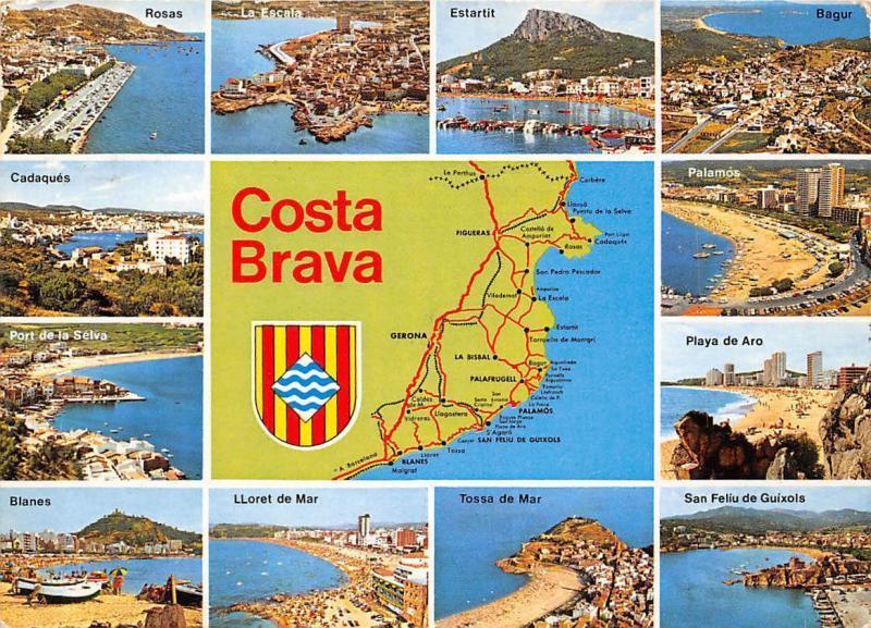 Spain Costa Brava Bagur map Lloret de Mar San Feliu de Guixols