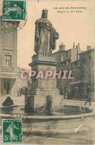 Old Postcard Aix en Provence Statue of King Rene