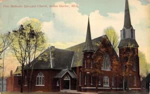 Benton Harbor Michigan~First Methodist Episcopal ME Church~1912 Postcard