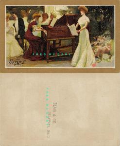 Circa-1892 Delaware Ohio Ad Card for Blair & Co. Offering Everett Pianos