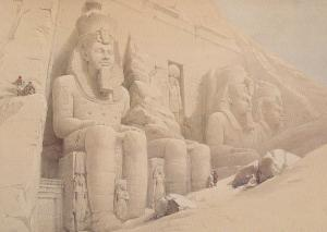 David Roberts Statues Of Ramasses II Temple of Abul Simbel Painting Postcard