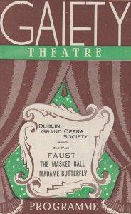 Faust Masked Ball Dublin Irish Opera Society Jack Harte Gaiety Theatre Programme