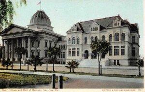 Court House & Hall of Records SAN JOSE, CA Britton & Rey c1900s Vintage Postcard