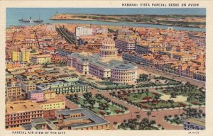 P1928 vintage linen postcard air view havana unused