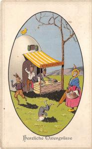 BG9027  rabbit humanized  shop egg chick   ostern easter greetings germany