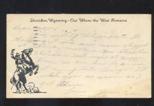 SHERIDAN WYOMING OUT WHERE THE WEST BEGINS COWBOY POSTCARD RED CROSS 1941