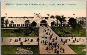 1907 IRISH INTERNATIONAL EXHIBITION Postcard Concert Hall & Entrance Dublin