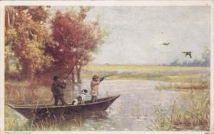 Duck Hunters With Dog In Boat 1910