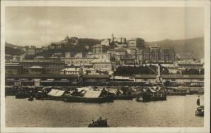 Genoa Italy From Harbor c1910 RPPC Message From SS Trier But Unsent