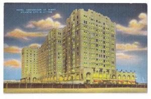 Hotel Ambassador at Night Atlantic City NJ Kropp Linen