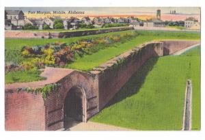 Fort Morgan Mobile Alabama AL Vintage Linen Postcard
