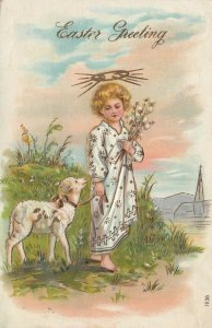 EASTER ; Angelic child leading a lamb, 1900-10s