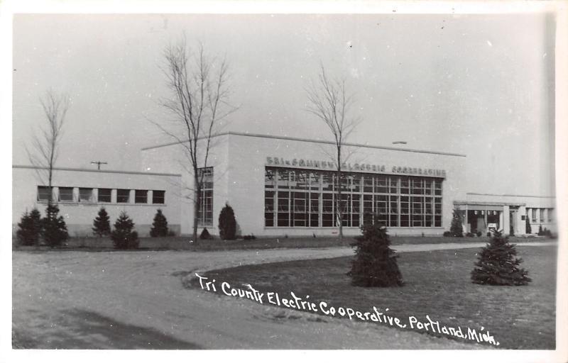 Portland MI Art Deco Tri-County Electric Cooperative Office Building~RPPC 1940s