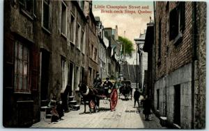 Quebec City, Canada Postcard Little Champlain Street & Break-Neck Steps c1910s
