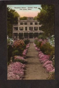 CT Boxwood Manor Garden Path Flowers Old Lyme Connecticut Postcard Hand Colored