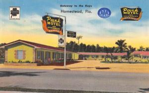 Homestead Florida Park Motel Street View Antique Postcard K71256