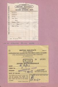 Dunkirk Dover British Rail Shepperton Ferry Ship 5x Old Receipt s