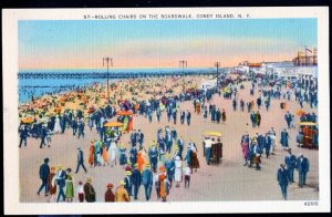 New York CONEY ISLAND Rolling Chairs on the Boardwalk LINEN