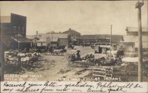 Culbertson MT TOWN WAS FULL OF INDIANS Street Scene RPPC c1910 dcn