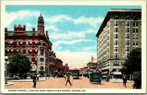 Macon, Georgia Postcard CHERRY STREET, Looking West From Third Curteich c1920s