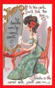 Artist Signed Dwig Dwiggins Mirror Girl Series no. 30 Unused