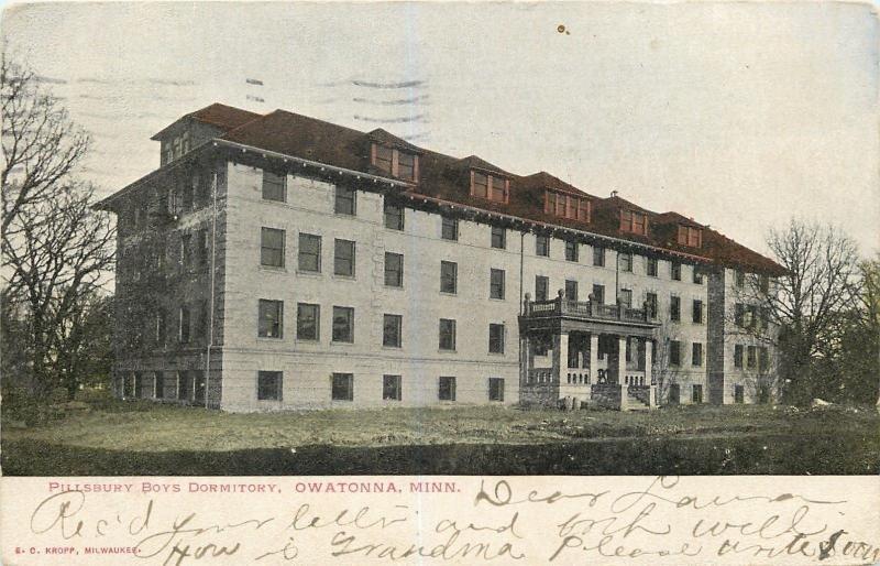 Owatonna Minnesota~Pillsbury College Prep School~Boys Dormitory~1906 Postcard