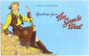 Linen Greetings from the Scenic West,Art Postcard #52-518