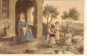 The Virgin and Infant Jesus nwith children Lovely vintage Italian religious PC