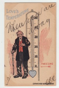 P2208, 1907? comic postcard old man loves temperture, old usa franklin stamp