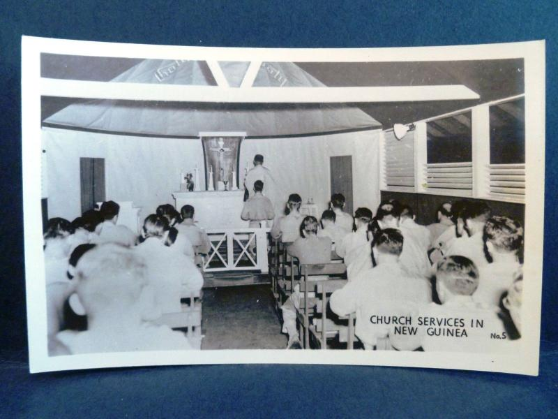 Postcard New Guinea Grogan RPPC Real Photo WW2 Church Services