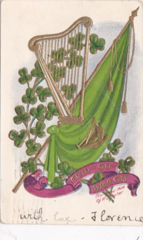 Saint Patrick's Day With Shamrocks & Gold Harp 1910