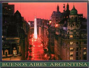 Roque Saenz Pena Ave. Obelisk Buenos Aires Argentina AR Postcard