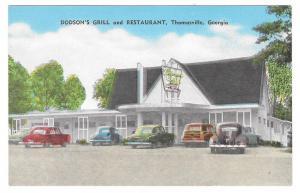 Thomasville Georgia Dodson's Grill &Restaurant Vntg Postcard