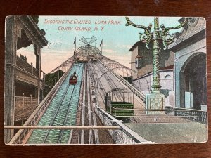 1911 Shooting the Chutes, Luna Park, Coney Island, NY Fordham Postmark C18