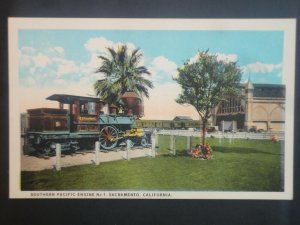Mint Vintage Southern Pacific Engine Sacramento CA Printed Picture Postcard