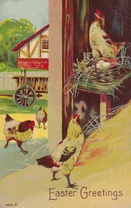 EASTER, PU-1909; Greetings, Chickens in a barn on a farm