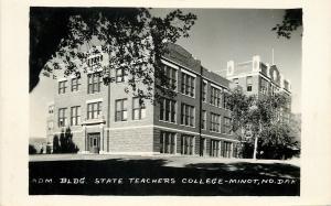 Minot ND Admin Bldg of State Teacher's College~Real Photo Postcard 1962