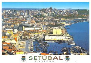 Portugal Setubal Vista Parcial Costa Azul Harbour Boats Port