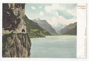 Switzerland Axenstrasse u Fluelen Vintage UDB c 1905 Autochrom Postcard