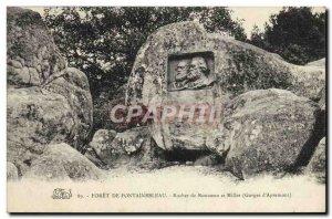 Old Postcard Foret De Fontainebleau Rock and Millet Gorges d & # 39Apremont