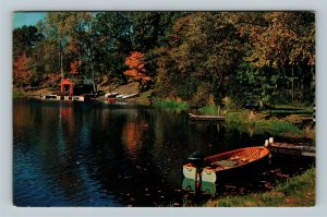 Lake With Autumn Leaves, Motor Boat, Chrome Postcard