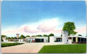 Meridian, Miss. Postcard NELVA TOURIST COURT Service Station & Restaurant 1954