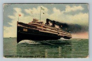 Steamer City Of Cleveland, D & C Line, Ship, Vintage Postcard