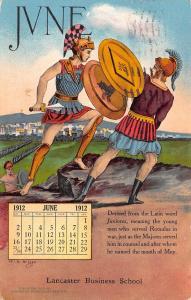 St Paul MN~Lancaster Business School~Juniores Soldiers~June 1912 Calendar Adv PC