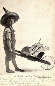 West Virginia Wheeling Young Boy With Wheelbarrow 1907